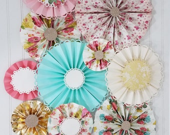 Antique Vintage Floral and Doily Party Paper Pinwheel Fan Rosettes, Tea Party, First Birthday, Photography Backdrop, Smash Cake Decorations