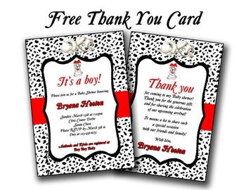 Dalmatian baby shower invitation, Dalmatian baby shower, dalmatian custom and printable, baby announcement card, boy or girl dalmatian baby