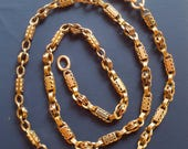 Victorian Fancy Link Chain with Mechanical Clasp in 12k  Gold