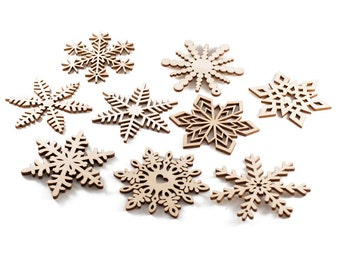 Christmas ornaments - set of 9 wooden snowflakes