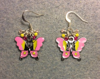 Pink and yellow enamel butterfly charm earrings adorned with tiny dangling pink and yellow Chinese crystal beads.