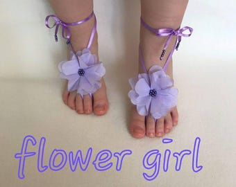 Flower girl beach wedding barefoot sandals 3D flowers embrodeired lace bangle children's shoes kids princess anklet bellydance beach pool