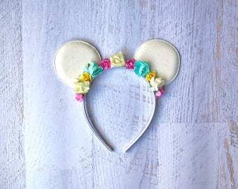 Spring Floral Mouse Ear Headband for Child Toddler Baby Girl