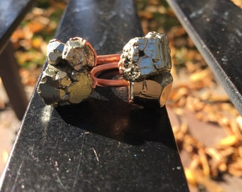 Pyrite cluster copper ring