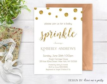 Gold Glitter Baby Shower Invitation , Baby Sprinkle Invitation , Minimal Baby Shower Invite , Gender Neutral , Printable , Personalized