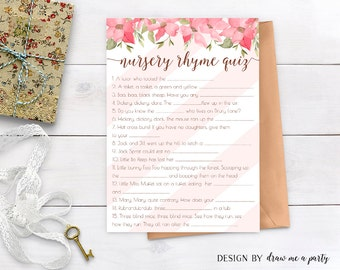 Floral Pink Baby Shower Game , Nursery Rhyme Quiz , Floral Baby Shower Game , Pink Baby Shower Game , Nursery Game , Stripes , Printable