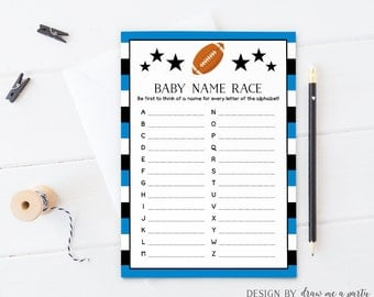 FOOTBALL BABY SHOWER , Sports Baby Name Race , Football Baby Shower Games , Sports Baby Shower Race , Printable , Instant Download