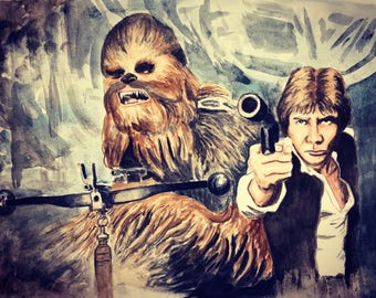 Han and Chewie watercolor print