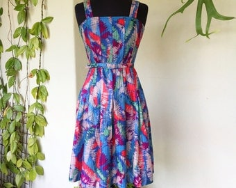 70s 80s colourful pleated vintage sun dress small polyester belt pink red blue purple straps bright