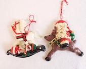 Vintage Wooden Santa riding Reindeer and White Rocking Horse Christmas Ornament Set