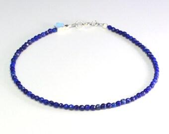 Lapis bracelet;Gemstone bracelet;Lapis Lazuli; Lapis;Blue bracelet;Birthstone;September birthstone,9th anniversary,Delicate bracelet;Silver