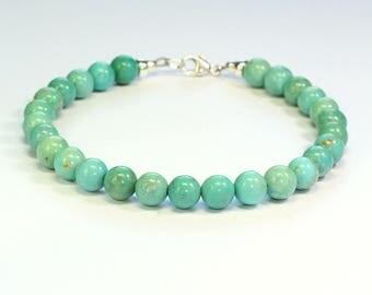 Natural turquoise bracelet;Beaded bracelet;Gemstone bracelet;Birthstone;December birthstone;Turquoise bracelet;Blue bracelet