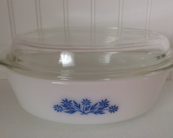 Vintage Fire King casseole blue flower with lid
