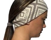 Headband Ponytail 2 in 1 Cream Square Diamonds Fleece Winter Headband - Wide Headband - Fleece Headband - workout headband Ear Warmers