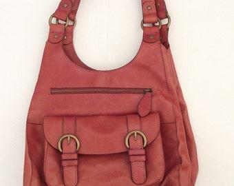 Beautiful Orange - Red Leather MS Marks&Spencer Shoulder Bag\ leather handbag
