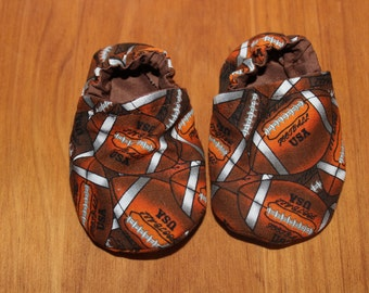 Football booties, crib shoes, baby booties, cloth moccasins, child shoes, football gear, baby footwear, soft soled shoes