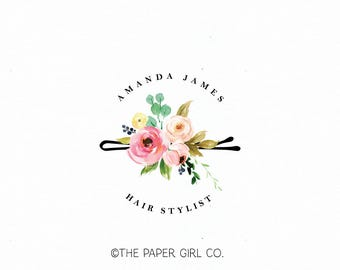 hair clip logo hair stylist logo hair salon logo beauty shop logo bobby pin logo watercolor logo gold foil logo premade hair logo design