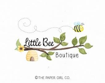 bee logo hive logo branch logo nature logo photography logo boutique logo premade logo etsy shop branding sewing logo crochet logo watermark