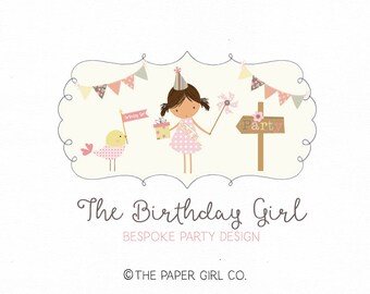 party logo design party shop logo party girl logo design bunting logo design whimsical logo premade logo photography logo bespoke logo