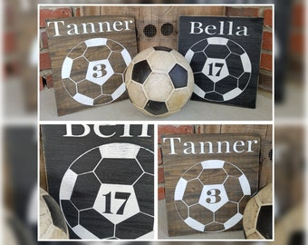 Personalized Soccer Wood Sign. Customized signs, soccer decor, soccer wall decor, sports sign, soccer coach gift, number decor, custom signs