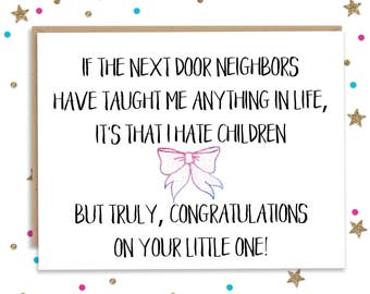 Baby Shower Card Funny Baby Card Card for New Parents Mom