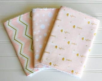 Sweet Pink Flamingo~Baby Girl Chenille Burp Cloths