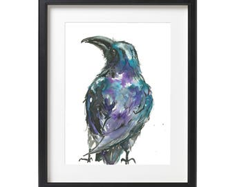 PRINT - Crow Watercolor Painting