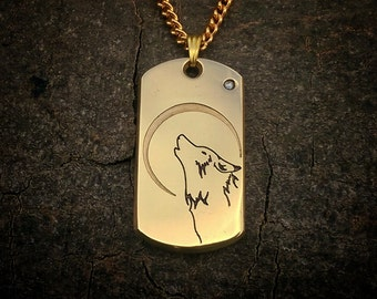 Men's Jewellers Brass and Swarovski Crystal Wolf Dog Tag
