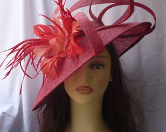 Red Pamela with Feathers, Red Sinamay Pamela, Red Sinamay Hat, Ascot Hat, Derby Hat, Races Hat, Wedding Hat, Event and Party Hat