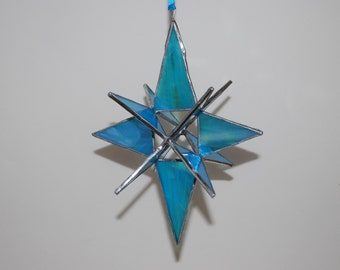 3-D Stained Glass Star Moravian Sun Catcher, 12 Point Hanging Stars Ornament Decoration Iridescent Turquoise Blue