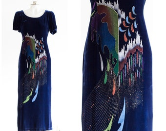 Dark blue velvet dress with painted design