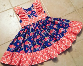 Baby and toddler ruffle dress, girls sundress