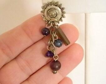 Silver Tone Purple Green Blue Beaded Dangle Pierced Earrings