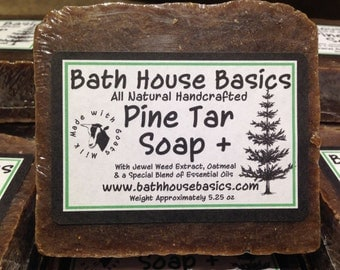 Pine Tar Plus Soap with Goats Milk, Oatmeal, Jewelweed Extract and Other Essential Oils