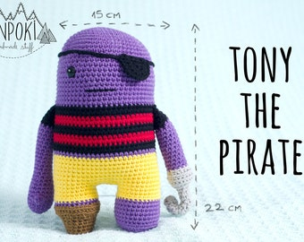 Tony the Pirate soft cute amigurumi crochet cotton toy doll all ages. Choose your own combination of colours!