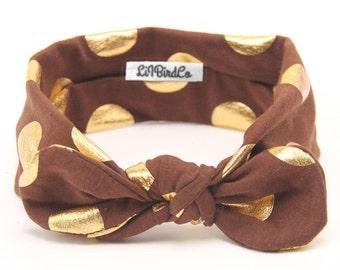 Polkadot Headband-Mocha & Gold