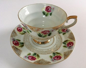 Tea Cup and Saucer Pink Floral Scrolls Gilt, AACO Japan, Vintage Japanese Tea Cup Peony Rose