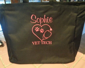 1 Tote Bags Personalize VET VETERINARIAN Tech technician animals dogs cat kitty puppies love gift On Sale!
