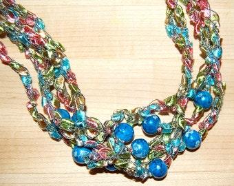 Aqua Blue Bead Ladder Yarn Necklace