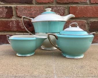 Vintage Mid-Century Turquoise Royal Jackson Tea Set - Free Shipping