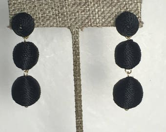 Black ball drop earring