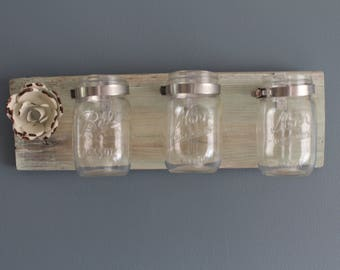 reperposed mason jars mounted great for organization