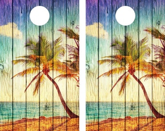 Cornhole Wrap Decal Ocean Beach Palm Tree  Weathered Wood Laminated Includes 2