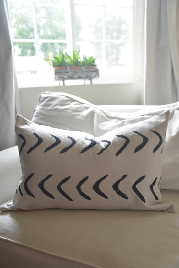 Mud Cloth style pillow cover, shown in 16x26 and available in 16x16, 18x18, 20x20, 16x24 and 16x26.