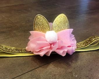 Pink and gold or white glitter bunny ears headband, easter ears headband