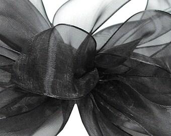 """5 Yards Black Organza Ribbon 5/8"""", Sheer Black Ribbon, Black Organza Ribbon"""