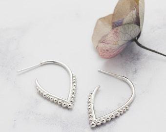 Handmade Silver Beaded Hoop Earrings - Silver Hoops - Unique Earrings - Contemporary Earrings