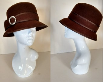 Vintage 80's Chocolate Brown Felt Hat with Pearl Buckle Detail made by Betmar New York