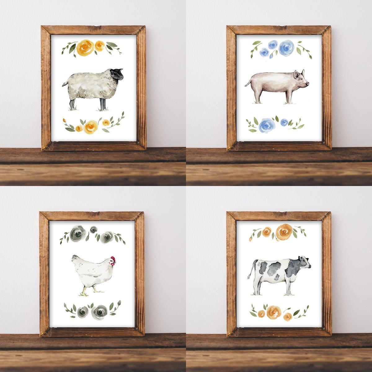 Chic Wall Art farmhouse wall art, nursery wall art, shabby chic wall art, animal