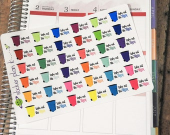 Garbage / Trash Day  Planner Stickers! Set of 36 perfect for Erin Condren Life Planner, Plum Paper Planner, and others